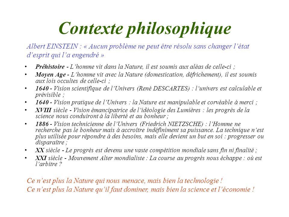 Contexte philosophique Préhistoire - Lhomme vit dans la Nature, il est soumis aux aléas de celle-ci ; Moyen Age - Lhomme vit avec la Nature (domestica