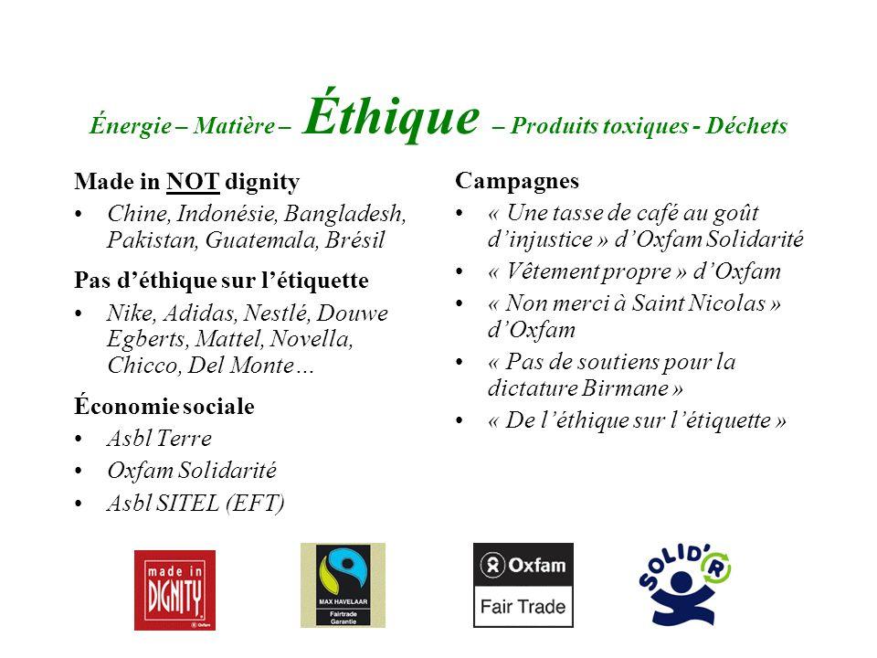 Énergie – Matière – Éthique – Produits toxiques - Déchets Made in NOT dignity Chine, Indonésie, Bangladesh, Pakistan, Guatemala, Brésil Pas déthique s