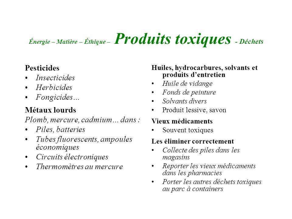Énergie – Matière – Éthique – Produits toxiques - Déchets Pesticides Insecticides Herbicides Fongicides… Métaux lourds Plomb, mercure, cadmium… dans :