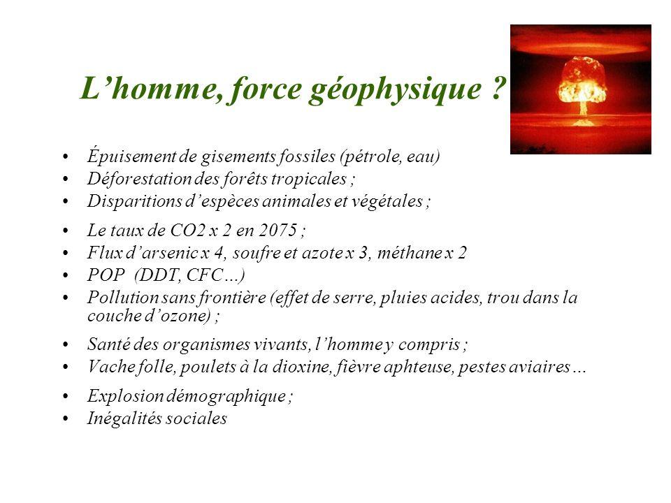 Lhomme, force géophysique ? Épuisement de gisements fossiles (pétrole, eau) Déforestation des forêts tropicales ; Disparitions despèces animales et vé