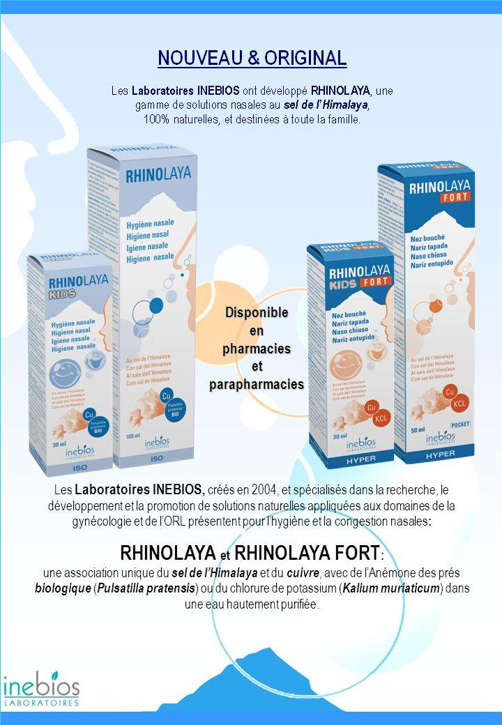 HYGIENE NASALE Indications RHINOLAYA est une solution isotonique très douce pour lhygiène du nez, pour nettoyer ou humidifier les fosses nasales en cas de sécheresse, de nez encombrés ou dirritation, et convient également aux nez malmenés par les allergies provoquées par la poussière, les pollens… Composition Sel de lHimalaya pur (contient naturellement les 84 oligo- éléments présents dans la nature) concentré à 9/1000 dans de leau purifiée.