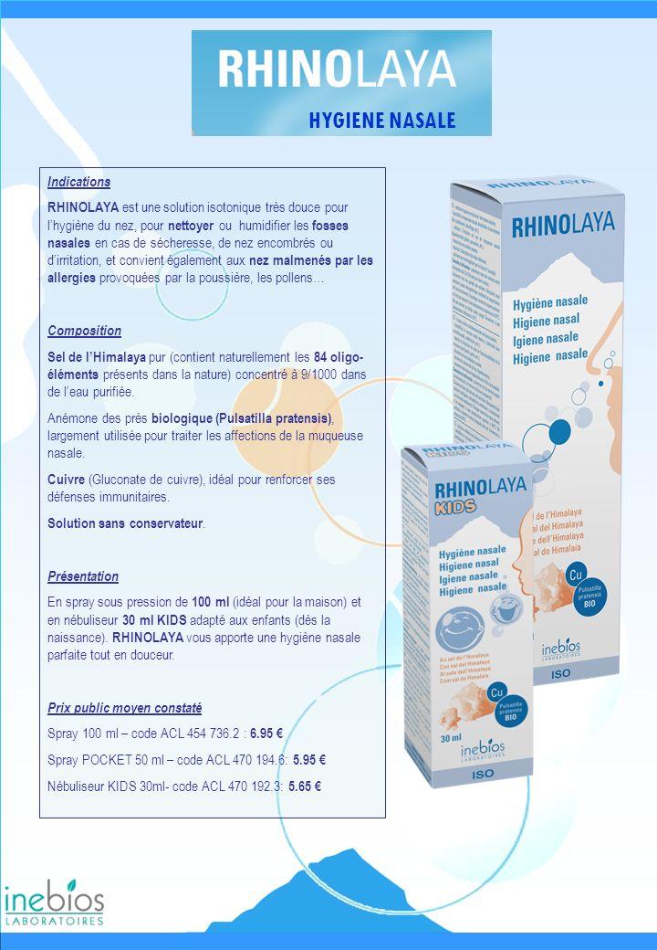 HYGIENE NASALE Indications RHINOLAYA est une solution isotonique très douce pour lhygiène du nez, pour nettoyer ou humidifier les fosses nasales en ca