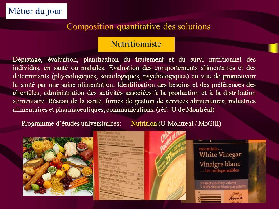 Composition quantitative des solutions Métier du jour Nutritionniste Dépistage, évaluation, planification du traitement et du suivi nutritionnel des individus, en santé ou malades.