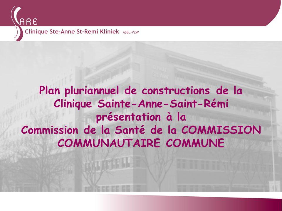 Plan pluriannuel de constructions de la Clinique Sainte-Anne-Saint-Rémi présentation à la Commission de la Santé de la COMMISSION COMMUNAUTAIRE COMMUN