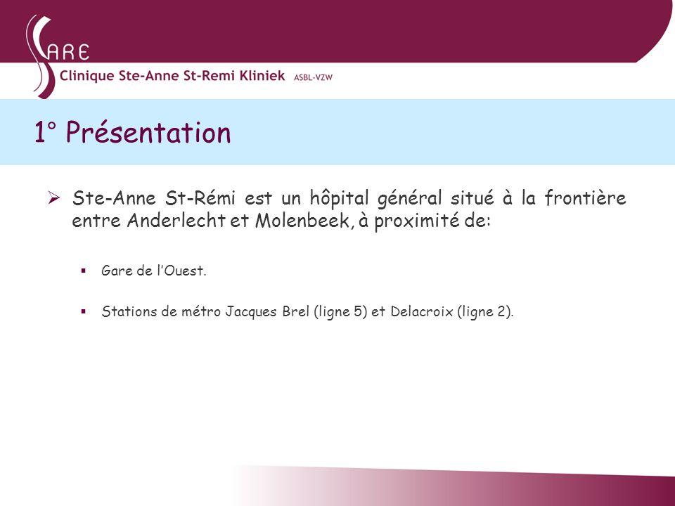 1° Présentation Ste-Anne St-Rémi est un hôpital général situé à la frontière entre Anderlecht et Molenbeek, à proximité de: Gare de lOuest. Stations d