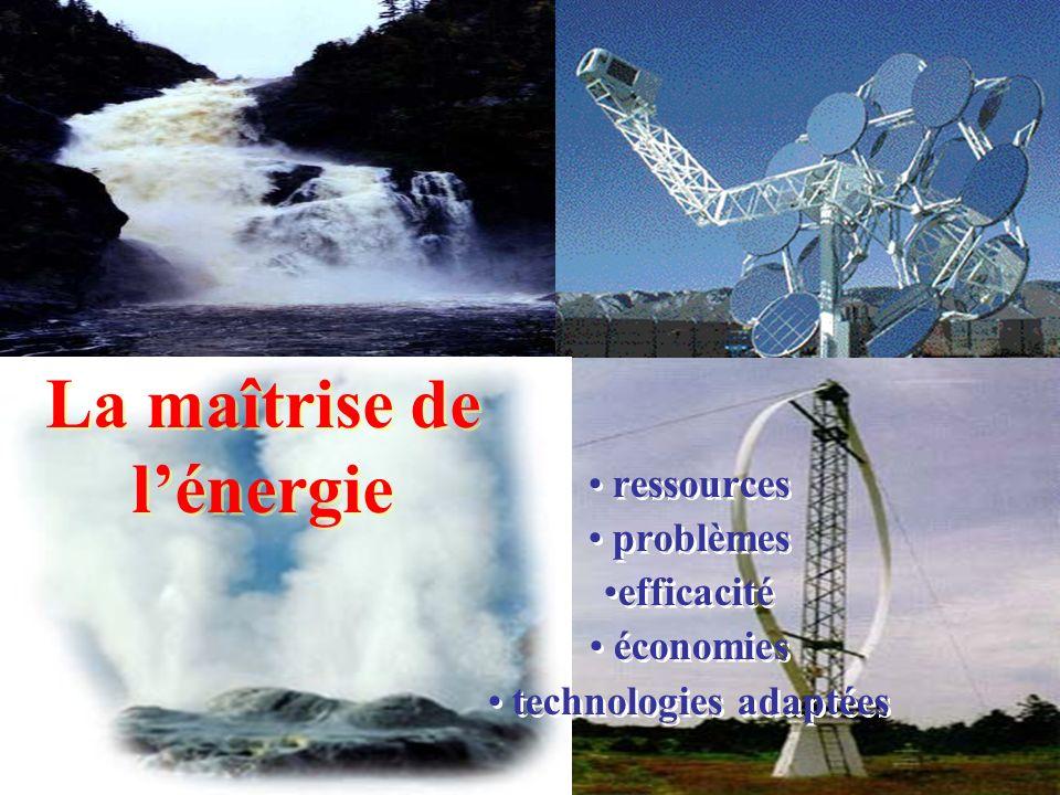 La maîtrise de lénergie ressources problèmes efficacité économies technologies adaptées ressources problèmes efficacité économies technologies adaptée