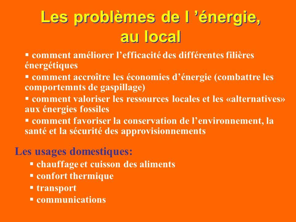 Les problèmes de l énergie, au local comment améliorer lefficacité des différentes filières énergétiques comment accroître les économies dénergie (com