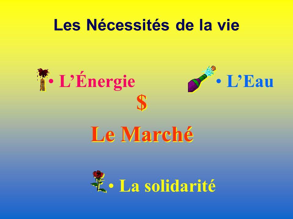 Les Nécessités de la vie LÉnergie LEau $ Le Marché $ Le Marché La solidarité