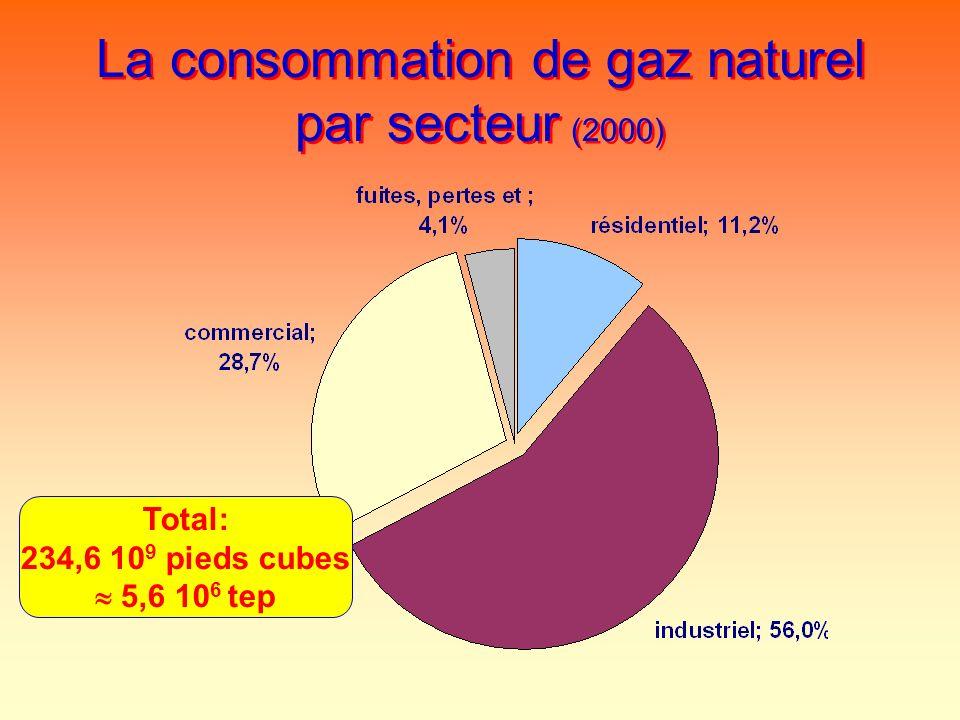 La consommation de gaz naturel par secteur (2000) Total: 234,6 10 9 pieds cubes 5,6 10 6 tep