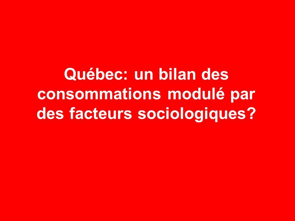Québec: un bilan des consommations modulé par des facteurs sociologiques?