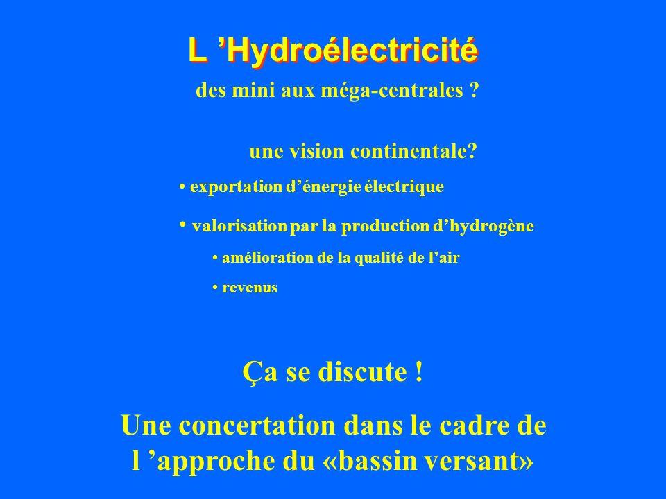 L Hydroélectricité Ça se discute ! Une concertation dans le cadre de l approche du «bassin versant» une vision continentale? exportation dénergie élec