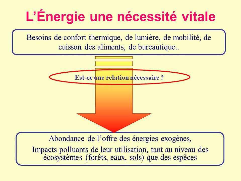 BILAN: inconvénients avantages Ressources non- renouvelables: charbon, pétrole, gaz, nucléaire (fission lente) Ressources alternatives: solaire, éolien, géothermique, hydroélectrique, nucléaire (fission rapide et fusion) Maîtrise de lénergie (5RV2E) Prouvées quantité duré accès «équitable» impacts environnementaux (- -) identification du potentiel technologie dextraction impacts environnementaux (-) analyse coûts- avantages économies efficacité impacts environementaux (+) Probables identification du potentiel technologie dextraction impacts environnementaux (-) technologie de lhydrogène innovations technologiques impacts environnementaux (-) analyse coûts – avantages économies efficacité impacts environementaux (+) Impacts sociétaux court terme ( ) long terme (- -) court terme ( ) long terme (+) court terme ( + ) long terme (++)