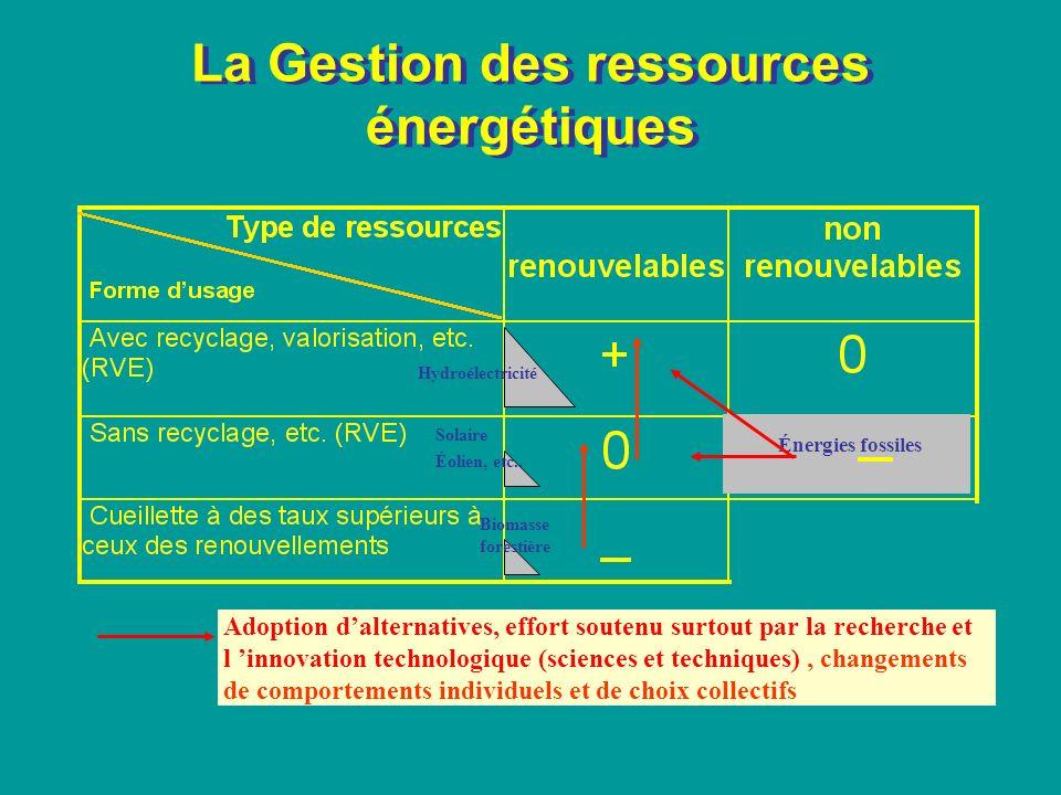 La Gestion des ressources énergétiques Énergies fossiles Hydroélectricité Solaire Éolien, etc.. Biomasse forestière Adoption dalternatives, effort sou