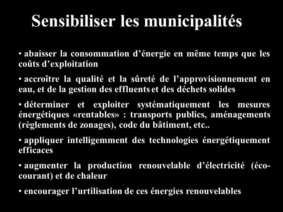 Sensibiliser les municipalités abaisser la consommation dénergie en même temps que les coûts dexploitation accroître la qualité et la sûreté de lappro