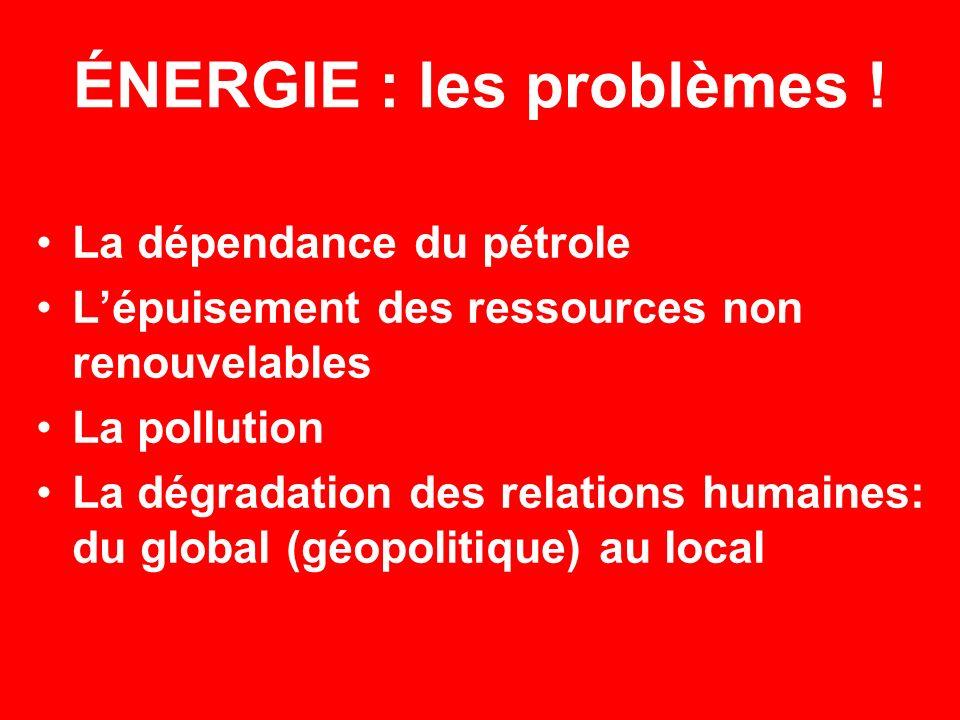 ÉNERGIE : les problèmes ! La dépendance du pétrole Lépuisement des ressources non renouvelables La pollution La dégradation des relations humaines: du