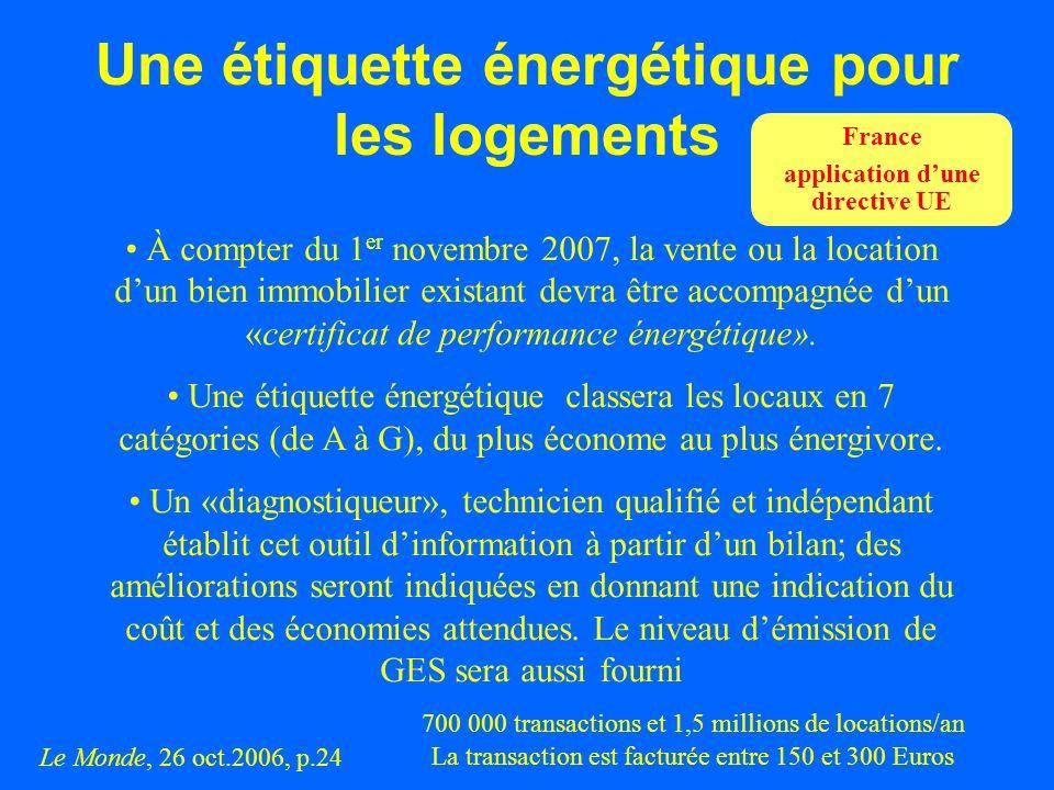 Une étiquette énergétique pour les logements À compter du 1 er novembre 2007, la vente ou la location dun bien immobilier existant devra être accompag
