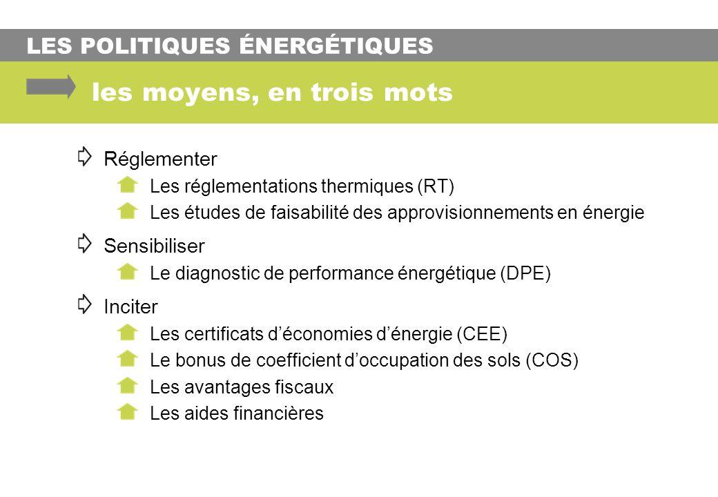 LES POLITIQUES ÉNERGÉTIQUES les moyens, en trois mots Réglementer Les réglementations thermiques (RT) Les études de faisabilité des approvisionnements