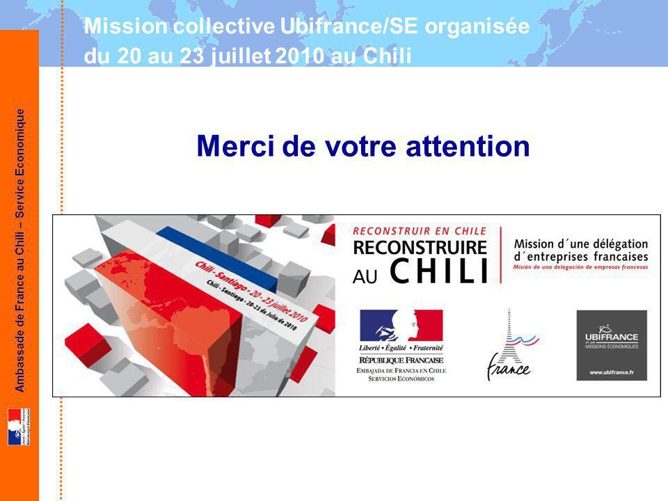 Ambassade de France au Chili – Service Economique Merci de votre attention Mission collective Ubifrance/SE organisée du 20 au 23 juillet 2010 au Chili