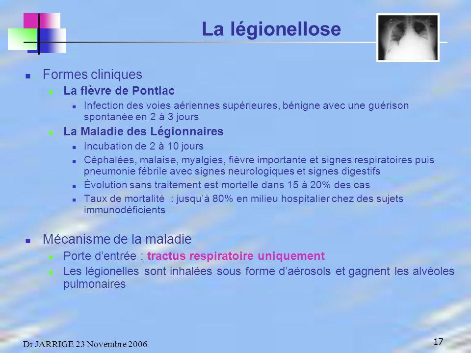 17 Dr JARRIGE 23 Novembre 2006 La légionellose Formes cliniques La fièvre de Pontiac Infection des voies aériennes supérieures, bénigne avec une guérison spontanée en 2 à 3 jours La Maladie des Légionnaires Incubation de 2 à 10 jours Céphalées, malaise, myalgies, fièvre importante et signes respiratoires puis pneumonie fébrile avec signes neurologiques et signes digestifs Évolution sans traitement est mortelle dans 15 à 20% des cas Taux de mortalité : jusquà 80% en milieu hospitalier chez des sujets immunodéficients Mécanisme de la maladie Porte dentrée : tractus respiratoire uniquement Les légionelles sont inhalées sous forme daérosols et gagnent les alvéoles pulmonaires