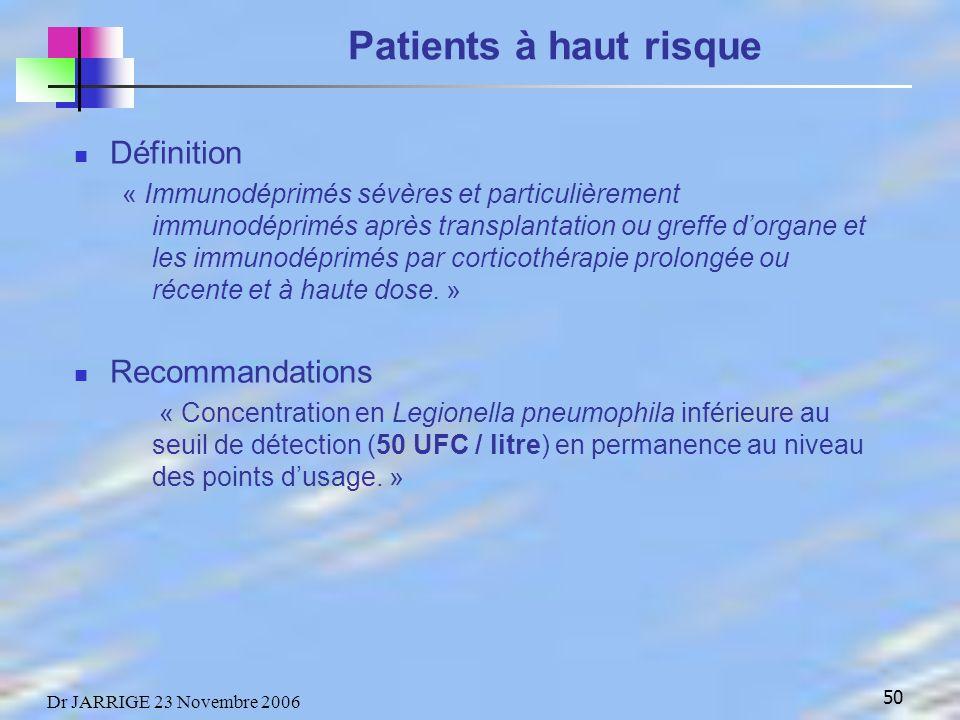 50 Dr JARRIGE 23 Novembre 2006 Patients à haut risque Définition « Immunodéprimés sévères et particulièrement immunodéprimés après transplantation ou greffe dorgane et les immunodéprimés par corticothérapie prolongée ou récente et à haute dose.