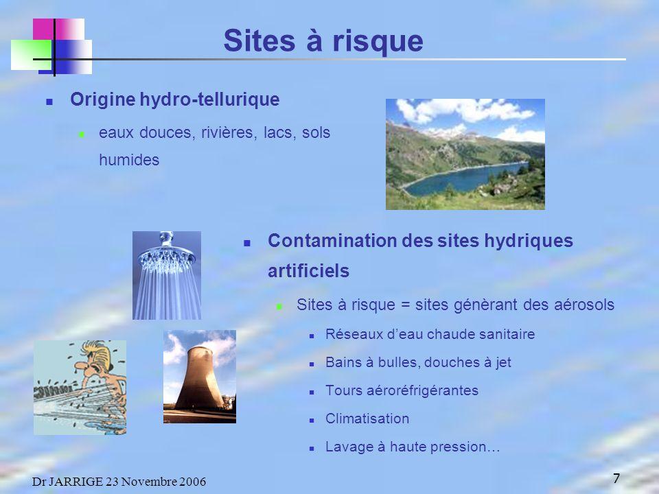 18 Dr JARRIGE 23 Novembre 2006 La légionellose