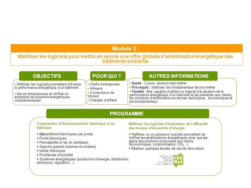 Module 2 : Maîtriser les logiciels pour mettre en œuvre une offre globale damélioration énergétique des bâtiments existants Maîtriser les logiciels pe