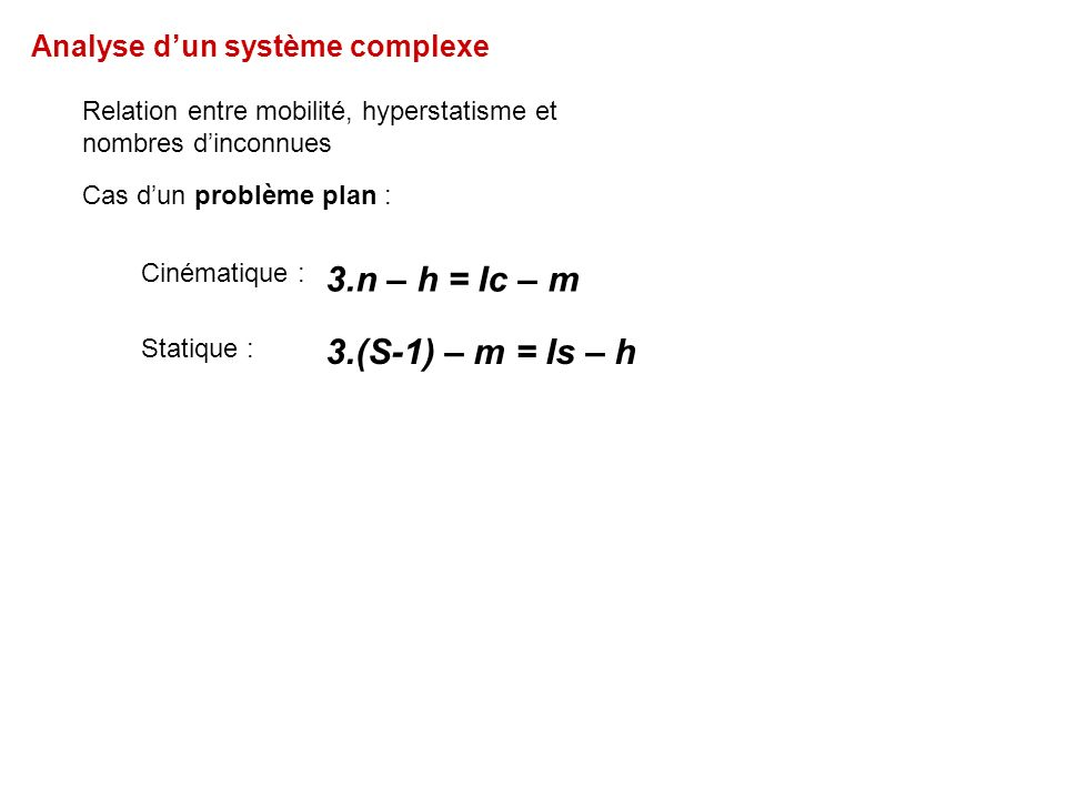 Analyse dun système complexe Relation entre mobilité, hyperstatisme et nombres dinconnues Cas dun problème plan : 3.n – h = Ic – m 3.(S-1) – m = Is – h Statique : Cinématique :