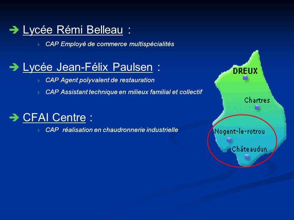 Lycée Rémi Belleau : CAP Employé de commerce multispécialités Lycée Jean-Félix Paulsen : CAP Agent polyvalent de restauration CAP Assistant technique