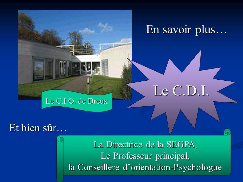 Le C.I.O. de Dreux En savoir plus… Le C.D.I. Et bien sûr… La Directrice de la SEGPA, Le Professeur principal, la Conseillère dorientation-Psychologue