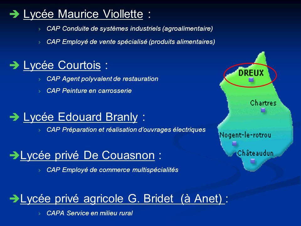 Lycée Maurice Viollette : CAP Conduite de systèmes industriels (agroalimentaire) CAP Employé de vente spécialisé (produits alimentaires) Lycée Courtoi