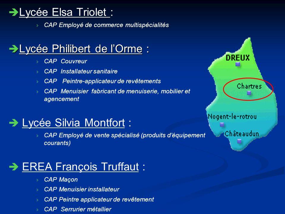 Lycée Elsa Triolet : CAP Employé de commerce multispécialités Lycée Philibert de lOrme : Lycée Philibert de lOrme : CAP Couvreur CAP Installateur sani