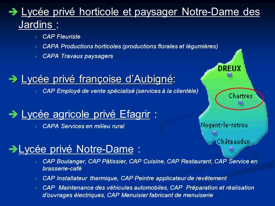 Lycée privé horticole et paysager Notre-Dame des Jardins : CAP Fleuriste CAPA Productions horticoles (productions florales et légumières) CAPA Travaux