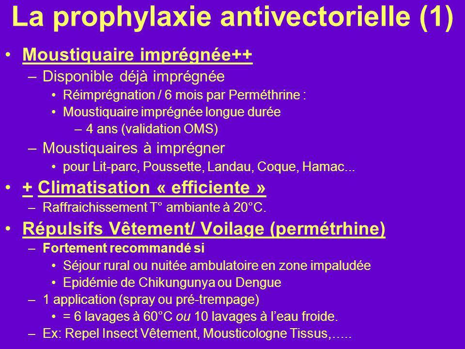La prophylaxie antivectorielle (1) Moustiquaire imprégnée++ –Disponible déjà imprégnée Réimprégnation / 6 mois par Perméthrine : Moustiquaire imprégné