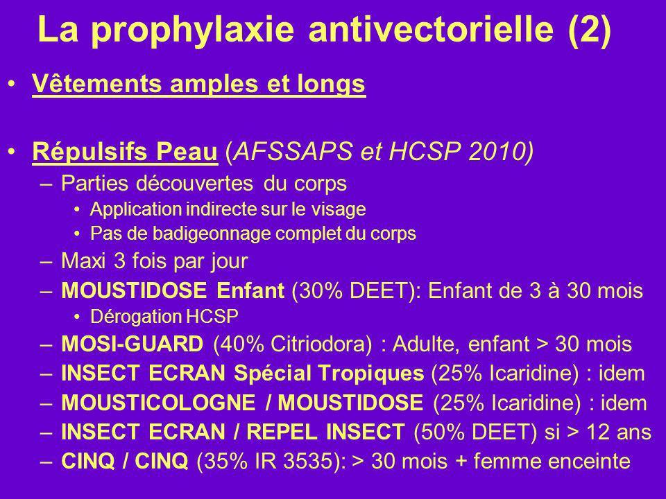 La prophylaxie antivectorielle (2) Vêtements amples et longs Répulsifs Peau (AFSSAPS et HCSP 2010) –Parties découvertes du corps Application indirecte