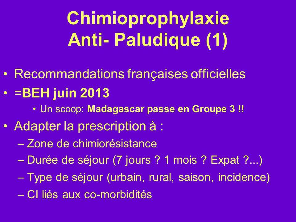 Chimioprophylaxie Anti- Paludique (1) Recommandations françaises officielles =BEH juin 2013 Un scoop: Madagascar passe en Groupe 3 !! Adapter la presc