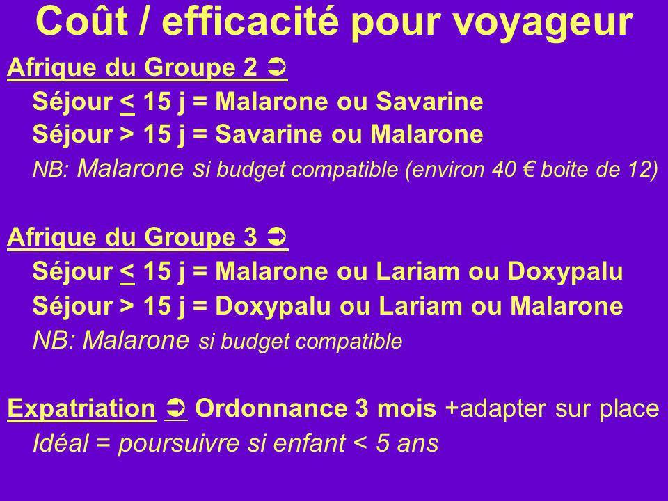 Coût / efficacité pour voyageur Afrique du Groupe 2 Séjour < 15 j = Malarone ou Savarine Séjour > 15 j = Savarine ou Malarone NB: Malarone s i budget
