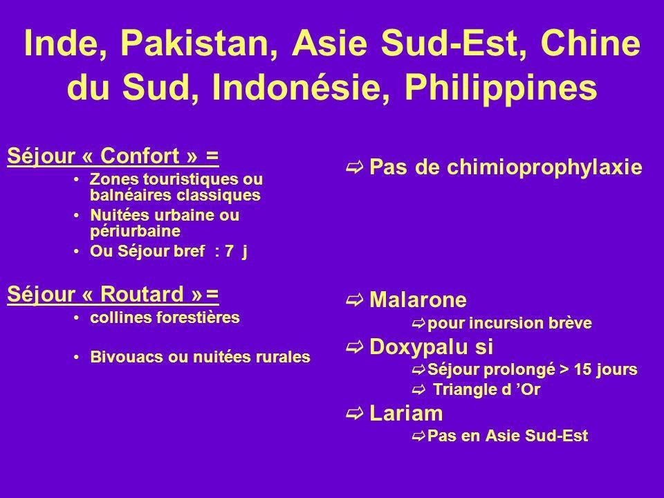 Inde, Pakistan, Asie Sud-Est, Chine du Sud, Indonésie, Philippines Séjour « Confort »= Zones touristiques ou balnéaires classiques Nuitées urbaine ou
