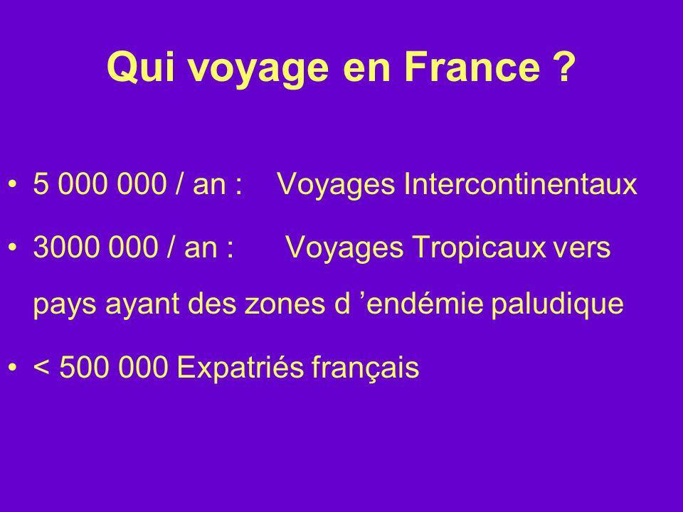 Qui voyage en France ? 5 000 000 / an : Voyages Intercontinentaux 3000 000 / an : Voyages Tropicaux vers pays ayant des zones d endémie paludique < 50