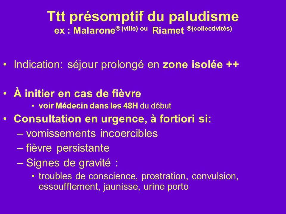 Ttt présomptif du paludisme ex : Malarone ® (ville) ou Riamet ®(collectivités) Indication: séjour prolongé en zone isolée ++ À initier en cas de fièvr