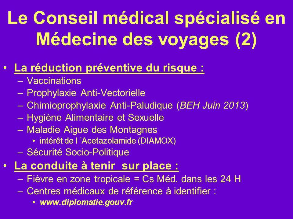 Le Conseil médical spécialisé en Médecine des voyages (2) La réduction préventive du risque : –Vaccinations –Prophylaxie Anti-Vectorielle –Chimioproph