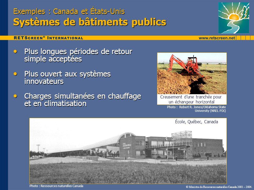 © Ministre de Ressources naturelles Canada 2001 – 2004. Exemples : Canada et États-Unis Systèmes de bâtiments publics Plus longues périodes de retour
