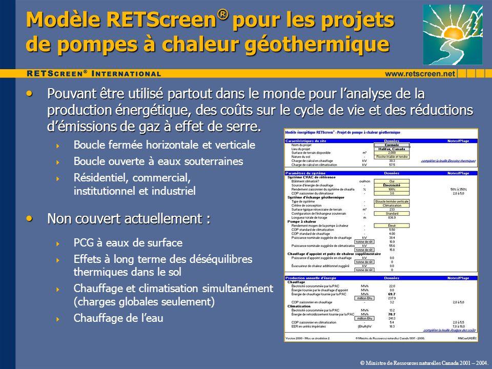 © Ministre de Ressources naturelles Canada 2001 – 2004. Modèle RETScreen ® pour les projets de pompes à chaleur géothermique Pouvant être utilisé part
