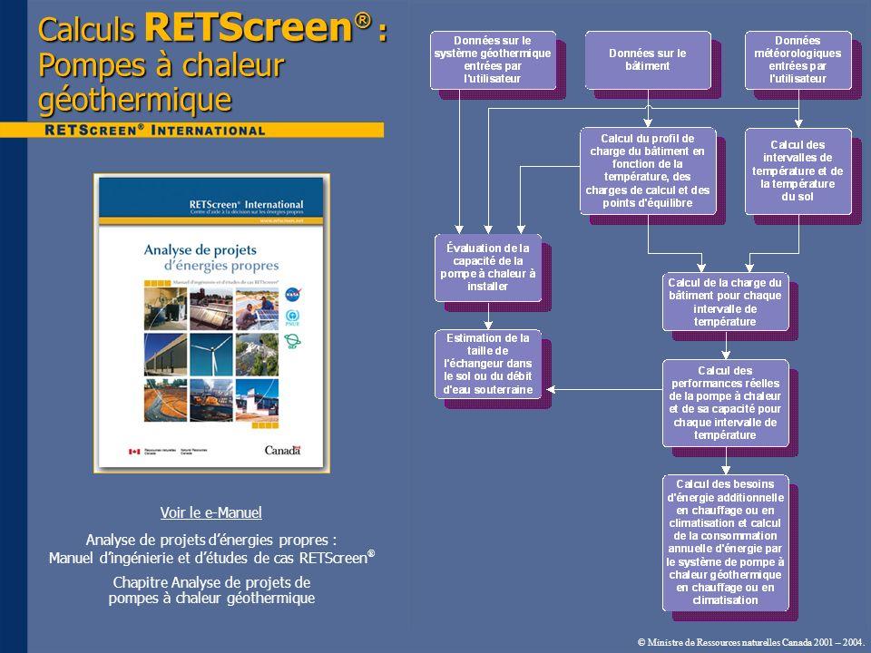 © Ministre de Ressources naturelles Canada 2001 – 2004. Calculs RETScreen ® : Pompes à chaleur géothermique Voir le e-Manuel Analyse de projets dénerg