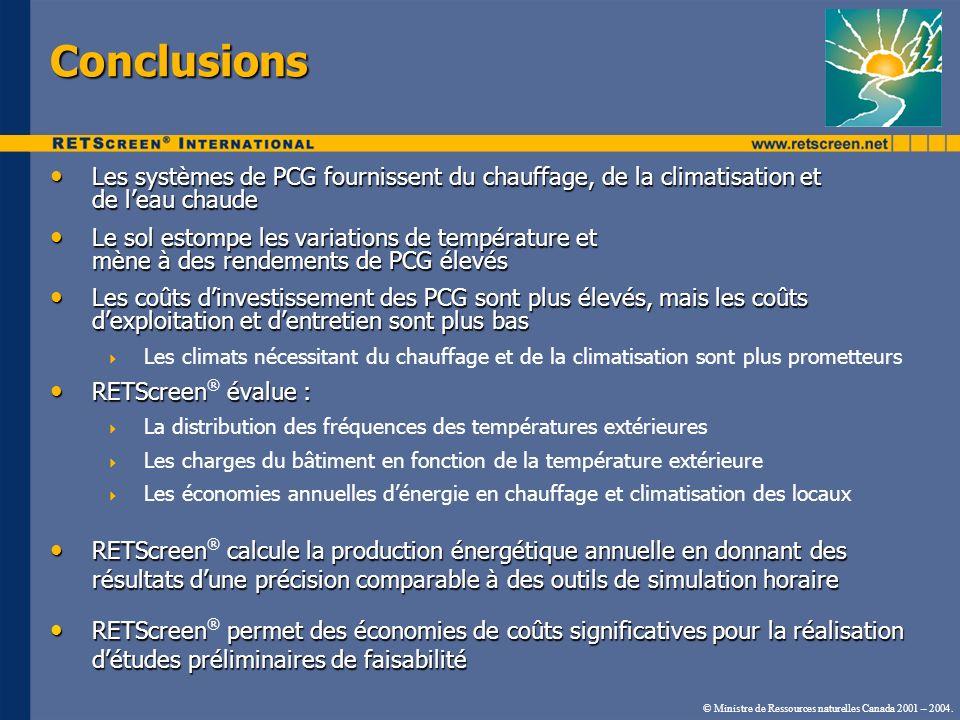 © Ministre de Ressources naturelles Canada 2001 – 2004. Conclusions Les systèmes de PCG fournissent du chauffage, de la climatisation et de leau chaud