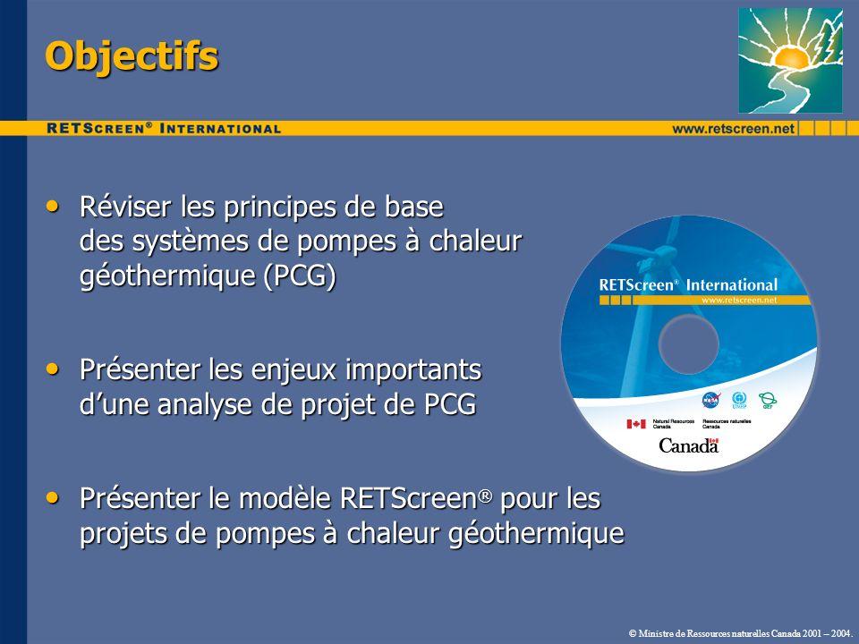 Objectifs Réviser les principes de base des systèmes de pompes à chaleur géothermique (PCG) Réviser les principes de base des systèmes de pompes à cha