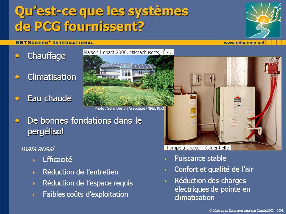 © Ministre de Ressources naturelles Canada 2001 – 2004. Chauffage Chauffage Climatisation Climatisation Eau chaude Eau chaude De bonnes fondations dan
