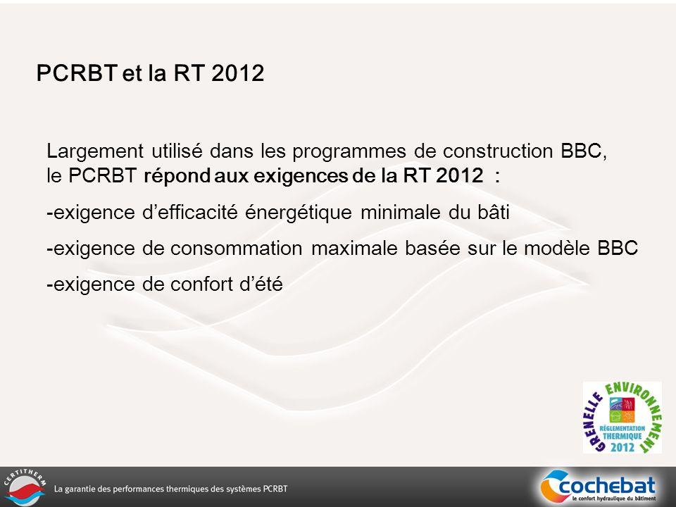 PCRBT et la RT 2012 Largement utilisé dans les programmes de construction BBC, le PCRBT répond aux exigences de la RT 2012 : -exigence defficacité énergétique minimale du bâti -exigence de consommation maximale basée sur le modèle BBC -exigence de confort dété