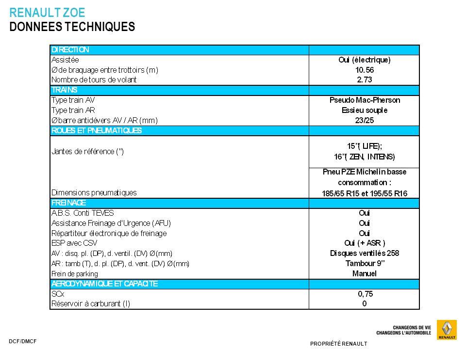 PROPRIÉTÉ RENAULT DCF/DMCF RENAULT ZOE DONNEES TECHNIQUES