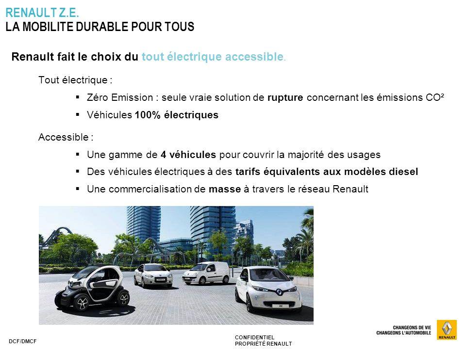 CONFIDENTIEL PROPRIÉTÉ RENAULT DCF/DMCF RENAULT Z.E. LA MOBILITE DURABLE POUR TOUS Renault fait le choix du tout électrique accessible. Tout électriqu
