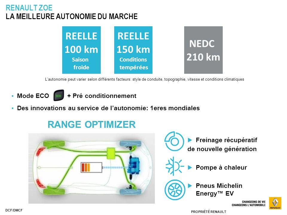 PROPRIÉTÉ RENAULT DCF/DMCF RENAULT ZOE LA MEILLEURE AUTONOMIE DU MARCHE Freinage récupératif de nouvelle génération Pompe à chaleur Pneus Michelin Ene